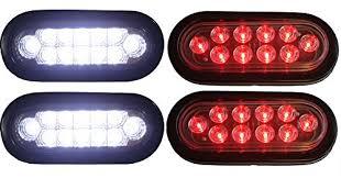 led lights for trucks and trailers 2 clear lens red 2 strong white 6 oval oblong led light fog back