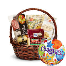 food delivery gifts gourmet congratulations gift basket and balloon at send flowers