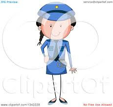 clipart of a cartoon stick police woman royalty free vector