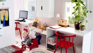 shared workspace for adults and children setup for as the