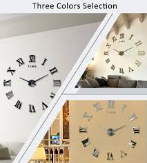 Home Decor Wall Clock Diy Large 3d Wall Clock Mirror Sticker Metal Watches Roman Numeral