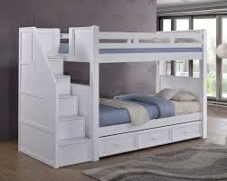 Dillon White Twin Bunk Bed With Stairway Storage - White bunk bed with drawers