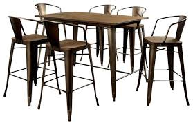cooper 5 piece metal counter dining table set rustic dining
