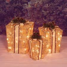 lighted christmas present boxes lighted christmas decorations 3 lighted glittering