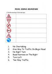 english teaching worksheets road signs