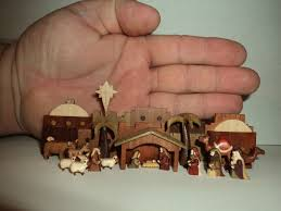 Miniature by Artist Miniature Nativity Set Hand Carved Wooden Micro Original