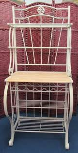 Wooden Bakers Racks Lot Detail Like New Ivory And Wood Bakers Rack