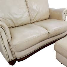 Beige Leather Loveseat 74 Off Raymour U0026 Flanigan Raymour U0026 Flanigan Studded Tan