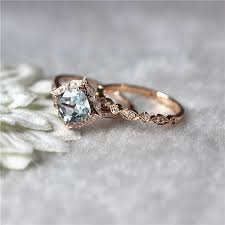 7mm diamond floral aquamarine wedding set 14k gold 7mm aquamarine