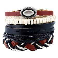 leather wrap bracelet men images 4pcs set handmade rope leather bracelet man beads charm wrap jpg