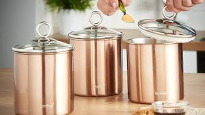 vonshef 3pc kitchen canister set copper vonshef