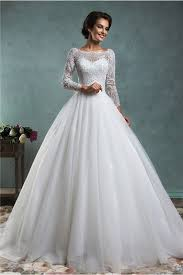 wedding dress with sleeves gown bateau neck low v back lace tulle wedding dress with sleeves