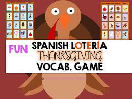 día de acción de gracias vocabulary bingo lotería for class