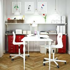 Office Desk Storage Solutions Desk Create One Home Office For Two Using The White Hissmon