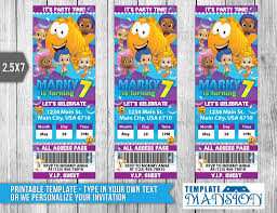 bubble guppies ticket invitation printable psd by