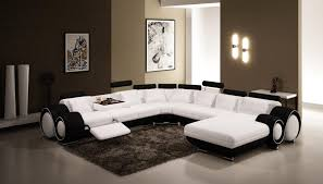 modern black and white leather sectional sofa furniture simple small living room decoration ideas with white
