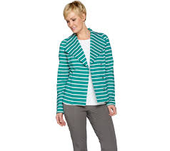 green motorcycle jacket isaac mizrahi live striped french terry knit motorcycle jacket