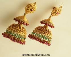 antique gold jhumka earrings antique gold jhumka design south india jewels