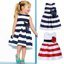 best quality 2015 new baby dress navy blue and white striped
