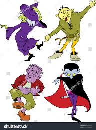 raster image halloween monsters dancing isolated stock