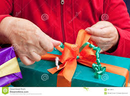 senior citizen gifts senior citizen wrap or unpack gifts stock image image 26718811