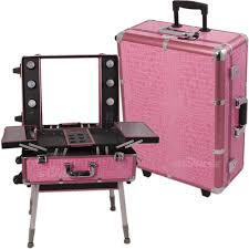 rolling makeup case with lighted mirror professional pink trolley portable cosmetic makeup artist table