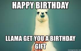 Birthday Gift Meme - happy birthday llama get you a birthday gift pancakes llama meme