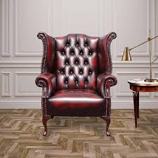 Antique High Back Chairs Oxblood Chesterfield 1780 High Back Wing Chair Designersofas4u
