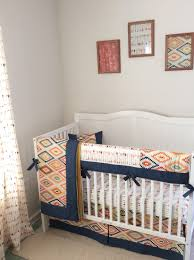 Boho Crib Bedding by Navy Gold Mint And Cream Baby Boy Tribal Crib Set Www Etsy Com