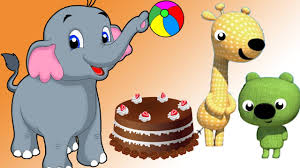 baby elephant birthday with forest friends cartoons on