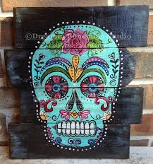 Sugar Skull Decor Wood Pallet Art Hand made Calavera Turquoise