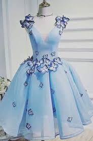 beautiful graduation dresses light blue organza handmade v neck prom dresses beautiful