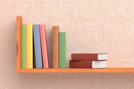 Bookshelves On The Wall Colored Books On Wooden Bookshelf On The Wall Stock Illustration