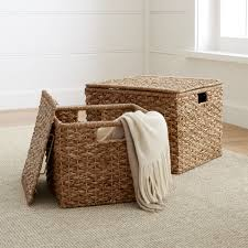 Wicker Bathroom Accessories by Kelby Square Lidded Baskets Crate And Barrel