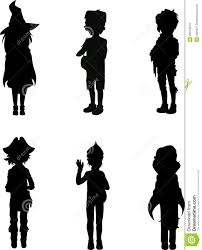 halloween background with silhouettes of children trick or treating in halloween costume silhouettes of kids in halloween suits stock images image 26874974