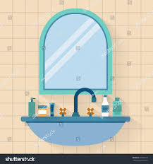 bathroom sink mirror bottle jar cream stock vector 273526118