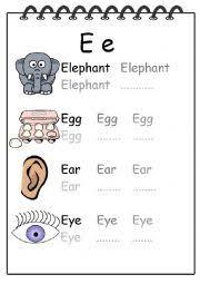 alphabet writing worksheet e