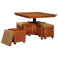 Table With Benches Set 5 Pc Square Coffee Table And Bench Set Amish Coffee Tables