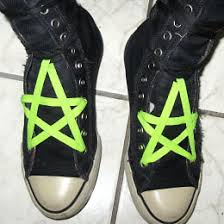 shoelace pattern for vans black converse all stars with fluoro green black pentagram lacing