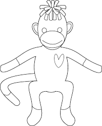 sock monkey coloring 29974 bestofcoloring