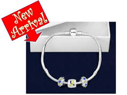 pandora style bracelet clasp images Pandora style blue yellow awareness bracelet jpg