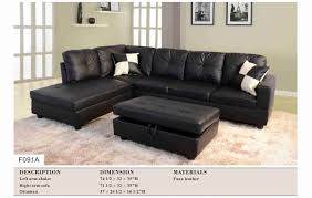 Sectional Sofa With Storage Black Leather Sectional Sofa Set With Free Storage Ottoman Left