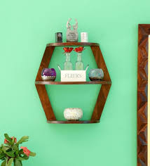 wall shelves pepperfry buy solid wood wall shelf in honey finish by woodsworth online