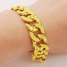 bracelet for hot selling women men 24k gold flat circle link chain bracelet for