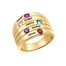 gold mothers rings five mothers ring with gold plating large size mynamenecklace