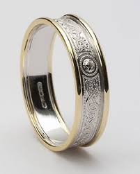wedding rings white gold celtic wedding rings white shield with yellow rails wed 27