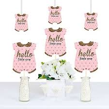 pink and gold baby shower decorations hello one pink and gold baby shower theme