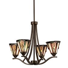 Lowes Dining Room Lights by Shop Portfolio 4 Light Aztec Mission Bronze Tiffany Style