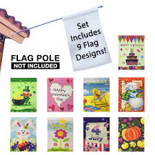 Decorative Holiday Flags Amazon Com Seasonal Holiday Garden Flags Set Of 9 30