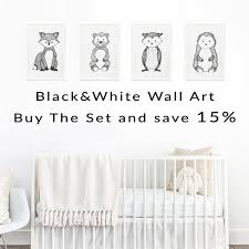 set of 4 black and white woodland animal wall art prints 15 off